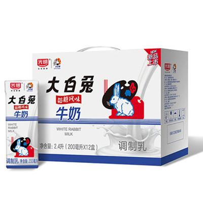 2月產 光明新品大白兔奶糖風味盒裝牛奶200ml*12兒時的回憶