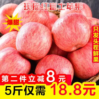 【嘉琪】紅富士蘋果水果 凈重5斤裝 果徑75-85mm (兩件合并發貨,帶箱凈8.5-9斤)