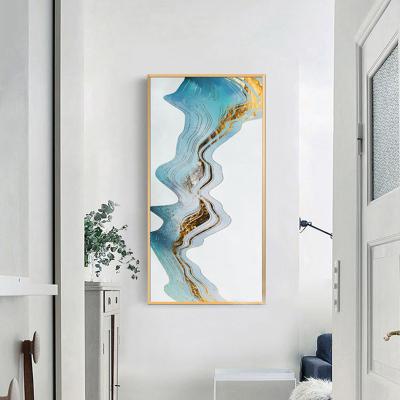 舒廳 玄關裝飾畫現代輕奢晶瓷畫金色琉璃抽象山水掛畫客廳沙發背景壁畫美 極光A款(拉絲金色)鋁合金外框高120*寬60cm