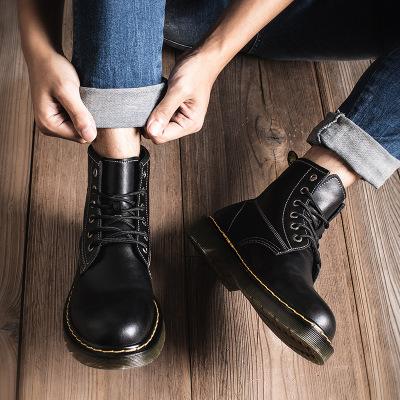 策霸馬丁靴男真皮高幫英倫風韓版工裝靴透氣百搭潮鞋中幫男靴秋季男鞋