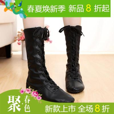 铁箭金银色高帮加长舞蹈鞋靴爵士舞靴马靴高筒亮革儿童演出舞台鞋