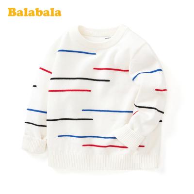 巴拉巴拉男童打底衫兒童毛衣春裝純棉針織撞色圓領套頭衫潮童上衣