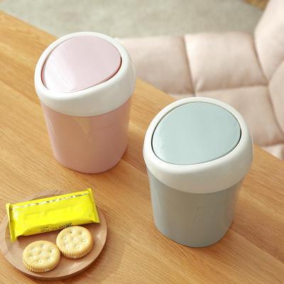 桌面垃圾桶家用客廳塑料小號有蓋迷你桌用創意帶蓋拉圾桌上垃圾筒弧威(HUWEI)