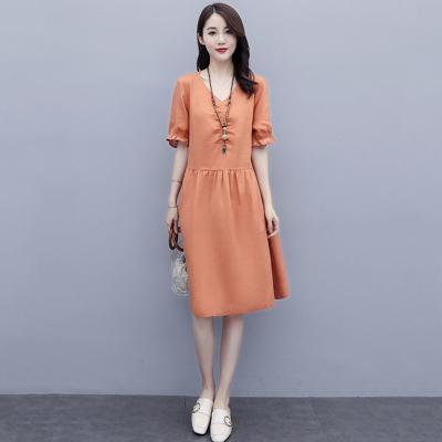 班俏BANQIAO小個子棉麻連衣裙女夏2020新款韓版寬松遮肚顯瘦中長款氣質亞麻裙
