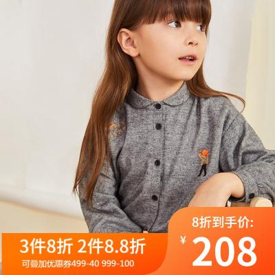 马拉丁童装女童衬衫冬装2019新款可爱娃娃领开叉长袖衬衫上衣