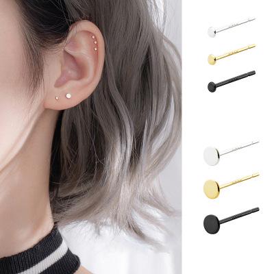 S925通體純銀時尚飾品圓形耳釘男女日韓簡約冷淡風百搭網紅小巧耳飾品