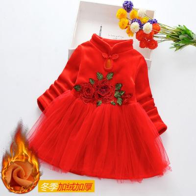 雪千羽女童冬季加绒加厚保暖连衣裙中国风旗袍儿童汉服新年洋气公主裙子