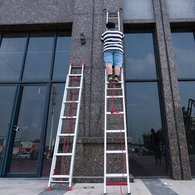 铝合金伸缩梯子家用加厚长高单面升降工程直梯便携爬6/8/10米 直梯(收2.9米升4.4米)净重10.8kg