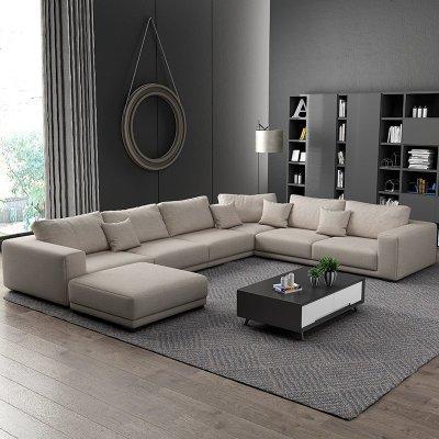 梦引 北欧布艺沙发U型组合简约现代大小户型可拆洗客厅整装家具