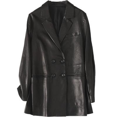 2020春季時尚新款真皮皮衣女士休閑流行中長款綿羊皮外套