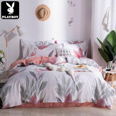 花花公子(PLAYBOY) 床上四件套網紅款床單被套磨毛學生宿舍三件套單人雙人床上用品4
