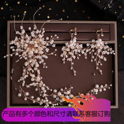 2019超仙皇冠頭飾森系新娘2019新款結婚白紗發飾韓式珍珠流蘇發帶頭帶