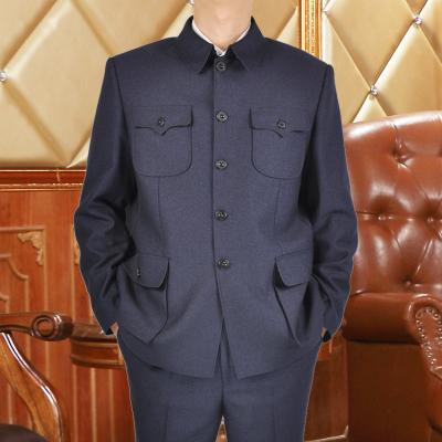 中老年中山裝男春秋款爸爸裝老年人服裝中華中山服套裝一套父親中山服秋裝