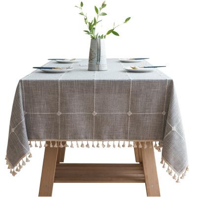 幸福派 ins风方格子绣花桌布 纯色棉麻布艺桌布简约现代流苏小清新台布长方形茶几餐桌垫子