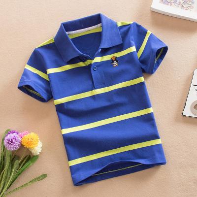 童装男童夏装短袖T恤 新款中大儿童条纹半袖体恤方领 T恤