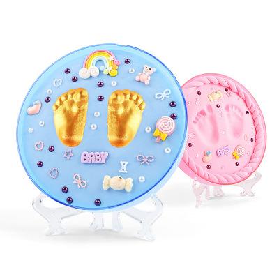 宝宝手足印泥套装儿0-3岁创意纪念品胎毛礼品手印泥蓝盒粉色泥(铁盒)送50树脂配件+金漆+胎
