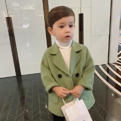 2019 新款秋冬男童毛呢大衣小男孩中长款呢子长袖外套童装潮范莎丞