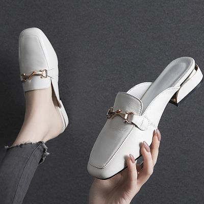 策霸半托單鞋女外穿2020新款春夏季粗跟半拖單鞋女百搭網紅大碼