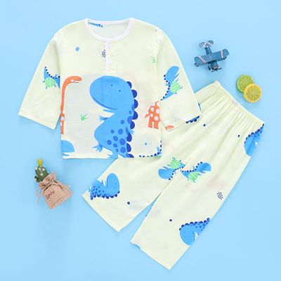 春季兒童卡通睡衣男童女孩1-10歲寶寶薄款長袖家居服套裝 莎丞