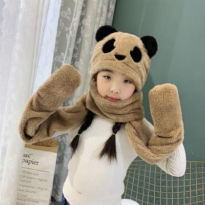 热卖秋冬儿童围巾帽子手套三件套装一体卡通熊猫男女童护耳帽围脖围巾