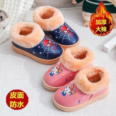 0-10岁儿童棉鞋新款pu皮防水冬季男女宝宝加厚棉靴小中大童防滑鞋威珺