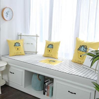 BONJEAN白格印花飄窗墊窗臺墊定做簡約現代沙發墊田園臥室榻榻米陽臺