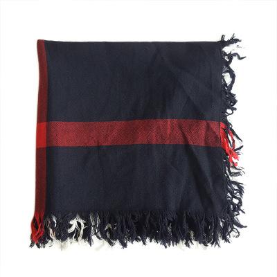 【正品二手99新】博柏利(BURBERRY)经典蓝黑格纹披肩围巾 100%山羊绒 含盒