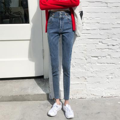 Jussara Lee小腳牛仔褲女2020新款高腰高腰修身顯瘦顯高百搭九分褲小腳鉛筆褲潮