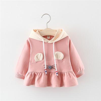 2019新款純棉透氣長袖衛衣裙潮 嬰兒衣服連帽韓版寶寶洋氣秋裝 諾妮夢