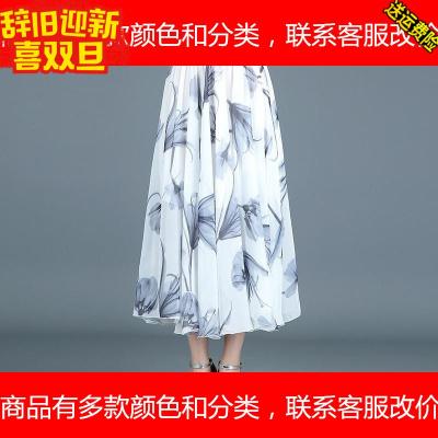 长裙民族风沙滩裙印花雪纺半身裙中长款大摆裙仙女裙夏季