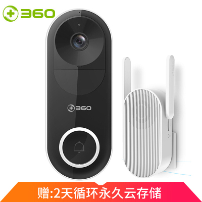 360 可視門鈴D819智能攝像機攝像頭 家用電子貓眼 高清夜視手機無線wifi遠程監控器 訪客識別 視頻通話