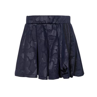 adidas 阿迪达斯 三叶草女士传奇墨水蓝运动短裙中低腰迷彩半身裙 BS4321