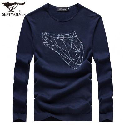 七匹狼針織衫冬季新款中青年圓領純棉線衫休閑秋裝商務套頭上衣潮