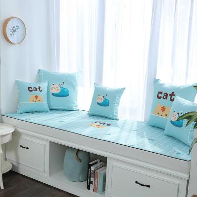 BONJEAN貓印花飄窗墊窗臺墊定做簡約現代沙發墊田園臥室榻榻米陽臺