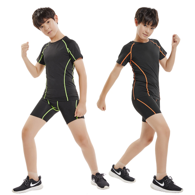 18公主(SHIBAGONGZHU)兒童運動緊身衣訓練服套裝男短袖健身服彈力籃球足球跑步速干衣夏