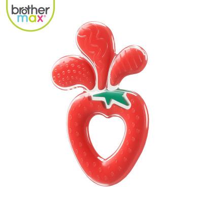 BROTHER MAX麥斯兄弟磨牙棒牙膠嬰兒硅膠軟0-3-6-12月寶寶可水煮牙咬膠玩具草莓汁牙膠