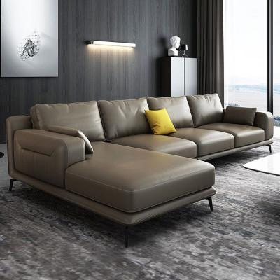 北歐沙發 真皮沙發 進口真皮實木木質沙發組合 現代簡約客廳整裝頭層牛皮沙發 意式轉角大小戶型家具 可定制