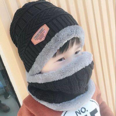 兒童帽子秋冬男童女童保暖護耳寶寶帽子圍巾兩件套裝冬季毛線帽潮 滌綸 諾妮夢