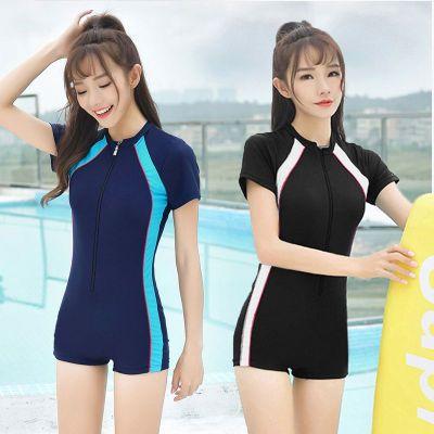 泳衣女專業運動款小胸連體平角保守修身遮肚顯瘦大碼學生泳裝 莎丞