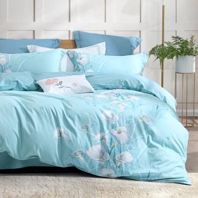 水星家紡 全棉印花四件套純棉被套床單整套 花舞幽然氧氣格調多花型套件 床上用品
