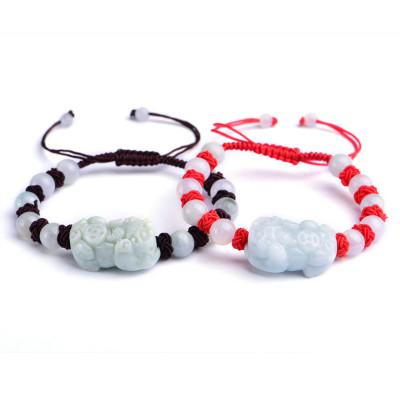 帛蘭梓韻 天然翡翠貔貅手鏈紅繩手鏈翡翠玉貔貅手串情侶款時尚手工編織手串