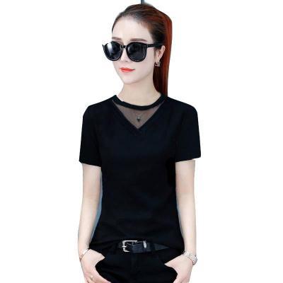 時尚條紋T恤女夏2020新款韓版修身顯瘦打底衫網紗拼接百搭上衣服