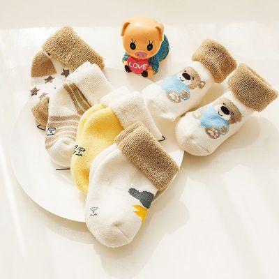 婴儿袜子秋冬款加厚儿童全棉0-1-3岁6-9个月新生儿宝宝松口毛圈袜 臻依缘