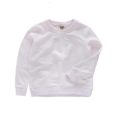 花漾兔(HUAYANGTU)中小男童白色卫衣纯棉加厚款春秋长袖幼儿女宝宝红粉黑蓝纯色