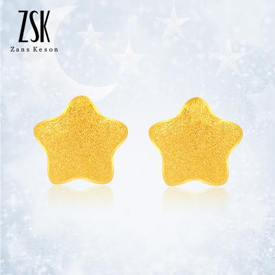 ZSK珠寶 黃金耳釘女 時尚星星耳釘 耳飾女 足金黃金飾品女款 送女友禮物 珠寶首飾 (計價)