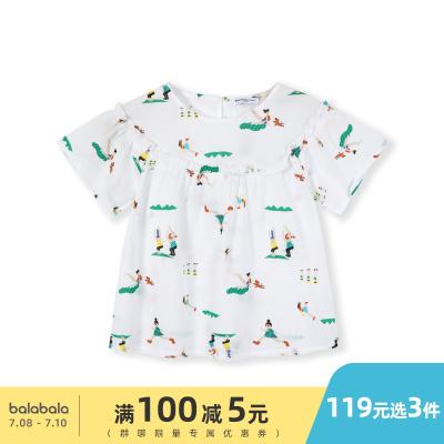 巴拉巴拉童裝女童襯衫短袖小童寶寶夏裝新款韓版兒童襯衣女