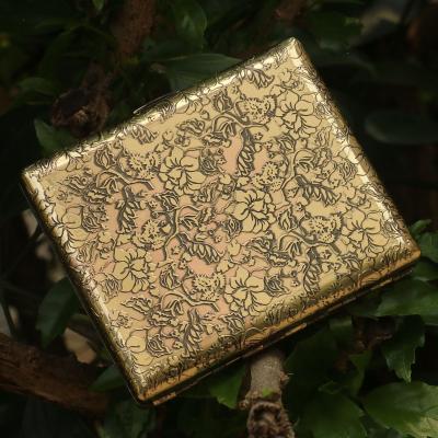 佐羅(ZORRO)牡丹復古銅煙盒20支裝便攜超薄隨身創意男翻蓋金屬盒高檔