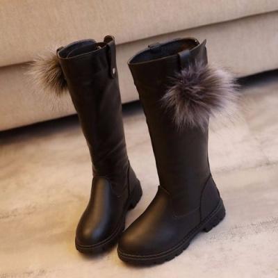 女童靴长筒秋冬款靴子皮靴中大童加绒韩版女孩雪地棉靴高筒软底靴 莎丞