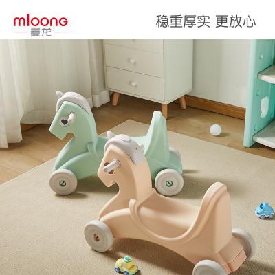 曼龍兒童搖搖馬寶寶搖馬二合一小木馬寶寶一歲生日禮物騎馬玩具車獨角獸搖馬清雅淡綠MLYYM05