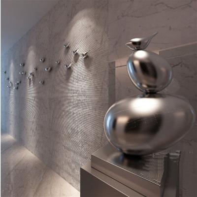 米魁电镀小鸟立体墙面墙壁装饰品橱窗挂饰客厅电视背景挂件寝室壁挂 右向镀银色15CM一只 侧面装